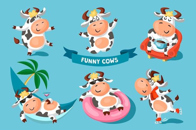 Conjunto de vacas pintadas de preto e branco engraçadas e fofas em diferentes poses