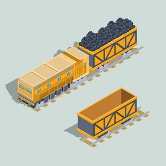 Conjunto de vagões locomotivos e ferroviários com vetor isométrico de carvão
