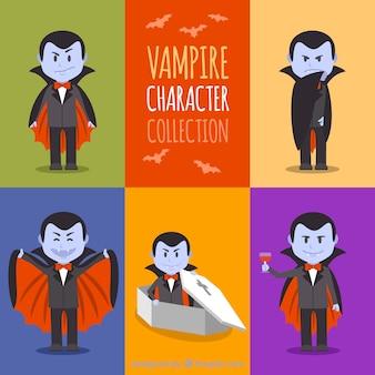 Conjunto de vampiros com diferentes posturas