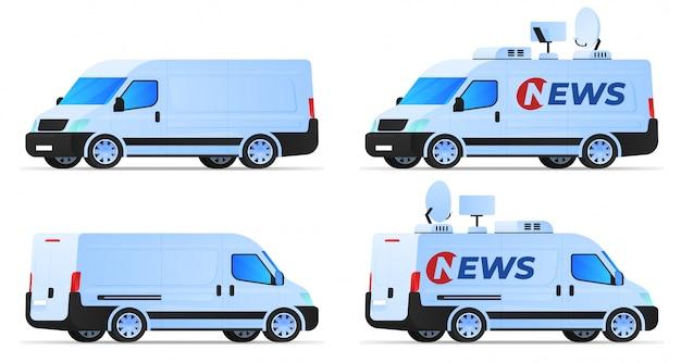 Conjunto de vans e carro de notícias