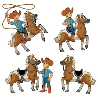 Conjunto de vaqueira e cavalo