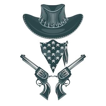Conjunto de vaqueiro. chapéu, revólveres e máscara.