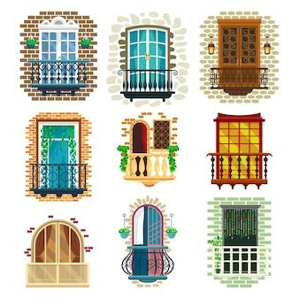 Conjunto de varanda clássica com ilustração de corrimão