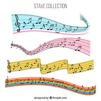 Conjunto de varas coloridas com notas musicais
