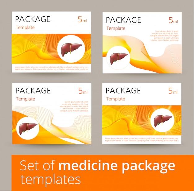 Conjunto de variações de design de modelo de pacote de medicina com fígado humano realista.