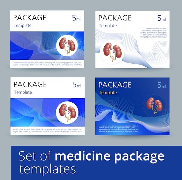 Conjunto de variações de design de modelo de pacote de medicina com rins humanos realistas.