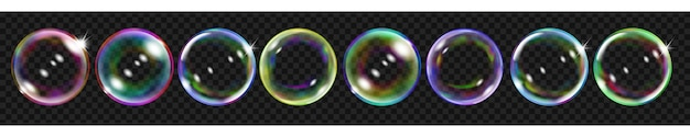 Conjunto de várias bolhas de sabão coloridas translúcidas para uso em fundo escuro. transparência apenas em formato vetorial