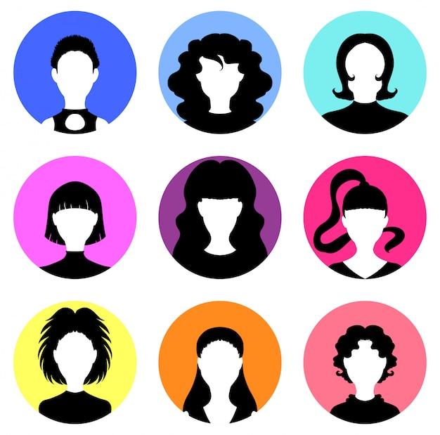 Conjunto de várias cabeças de mulheres, ícones, avatares