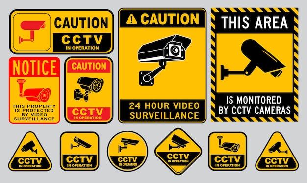Conjunto de várias câmeras de segurança ou cctv para casa de rua e conceito de construção de vetor eps