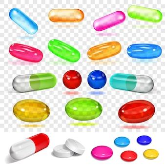 Conjunto de várias cápsulas e pílulas multicoloridas transparentes e opacas