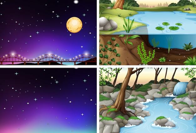 Conjunto de várias cenas