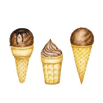 Conjunto de várias colheres de sorvete de chocolate decoradas com chocolate em casquinha de waffle.
