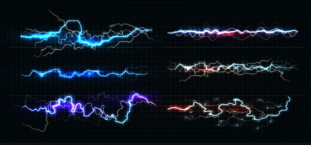 Conjunto de várias cores de relâmpago, raio brilhante e poder relâmpago chocam linhas mágicas em fundo preto.