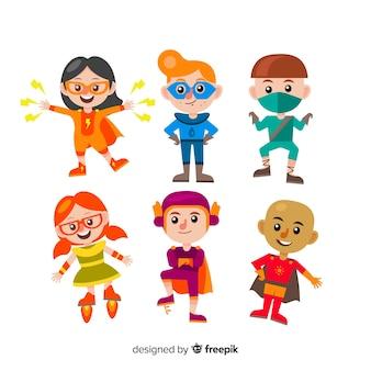Conjunto de várias crianças de super-herói