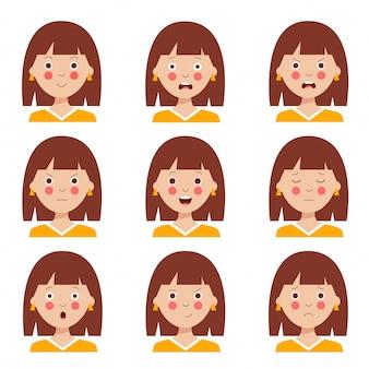 Conjunto de várias expressões faciais da menina de cabelos castanho bonito dos desenhos animados.
