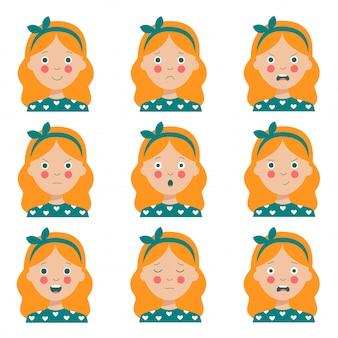 Conjunto de várias expressões faciais de menina de cabelos vermelha bonito dos desenhos animados.