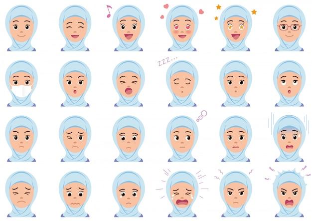 Conjunto de várias expressões faciais mulher muçulmana