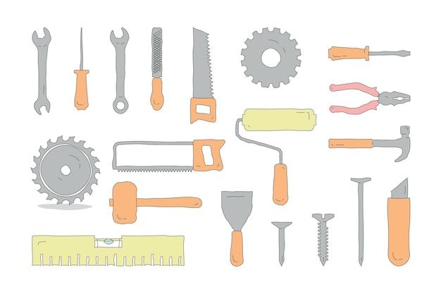 Conjunto de várias ferramentas de trabalho desenhadas à mão