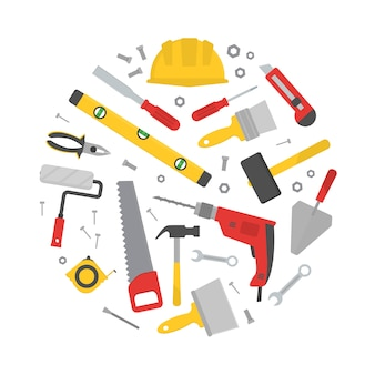 Conjunto de várias ferramentas de trabalho em forma de círculo.