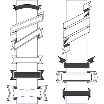 Conjunto de várias fitas retrô de design preto de vetor e banners de estilo vintage