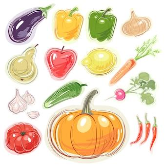 Conjunto de várias frutas e legumes.