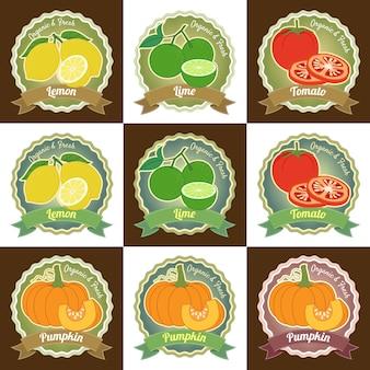 Conjunto de várias frutas frescas e vegetais prémio qualidade tag etiqueta distintivo design