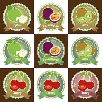 Conjunto de várias frutas frescas prémio qualidade tag etiqueta distintivo design