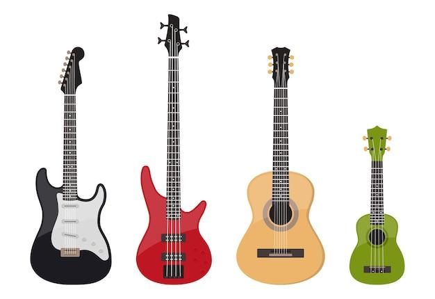 Conjunto de várias guitarras