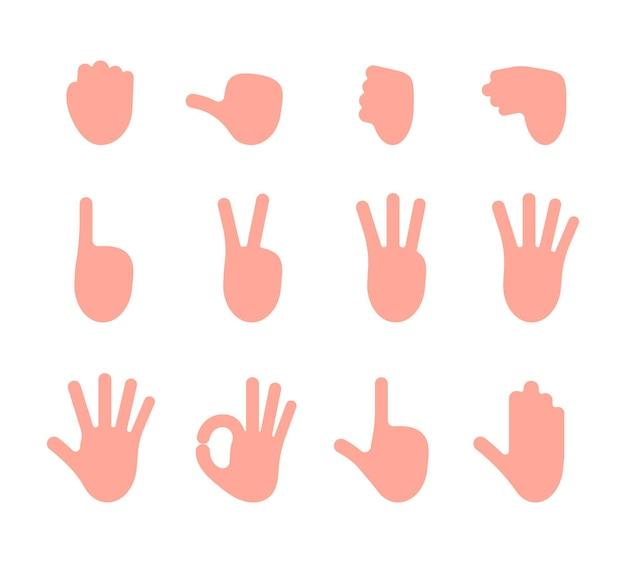 Conjunto de várias ilustrações de gestos com as mãos