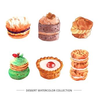 Conjunto de várias ilustrações de sobremesa isolado