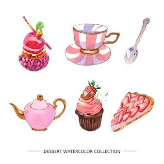 Conjunto de várias ilustrações isoladas de sobremesa em aquarela