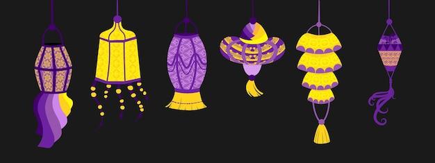 Conjunto de várias lanternas indianas. luzes e velas festivas pintadas à mão objetos decorativos asiáticos