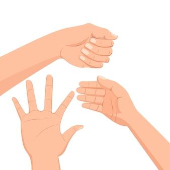Conjunto de várias mãos