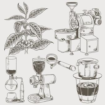 Conjunto de várias máquinas de café e ferramentas