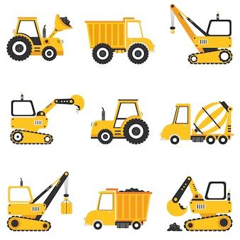 Conjunto de várias máquinas de construção