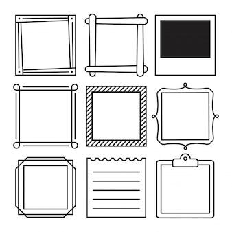 Conjunto de várias molduras quadradas e memorando projetado sobre fundo branco, com formas diferentes.