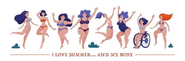 Conjunto de várias mulheres, magro, gordinho e plus size, dançando alegremente em biquíni, maiôs, conceito de positividade do corpo e auto-aceitação