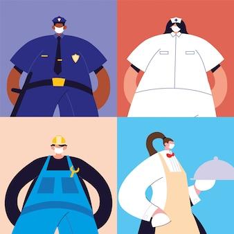 Conjunto de várias ocupações de pessoas com máscara facial