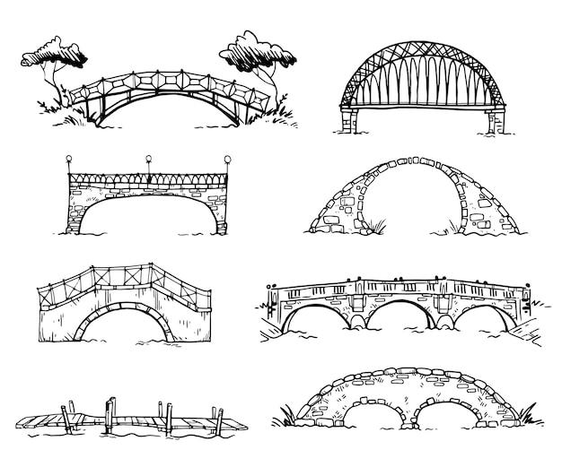 Conjunto de várias pontes desenhadas à mão, desenho vetorial