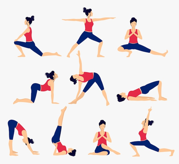 Conjunto de várias poses de ioga. ilustração do vetor de ioga feminina. estilo de vida saudável.