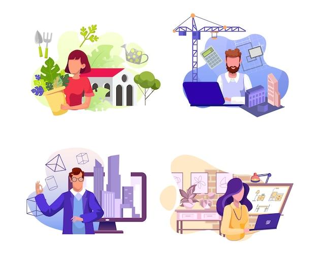Conjunto de várias profissões. florista, arquiteto, engenheiro e personagens de interiores. trabalhadores de floriculturas, construtoras e imobiliárias