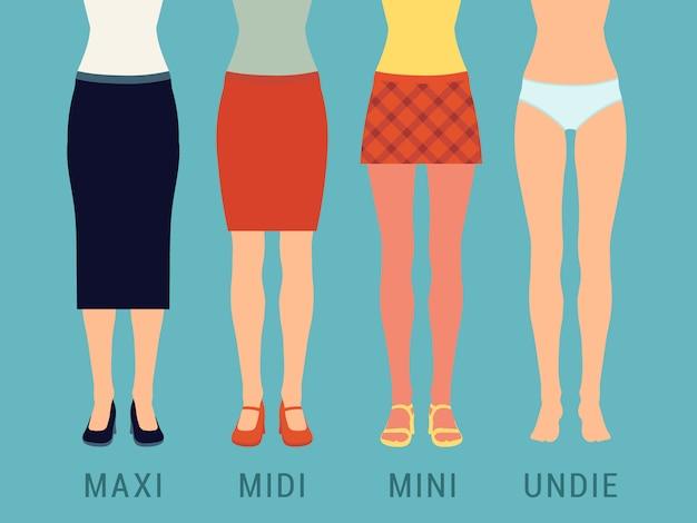 Conjunto de várias saias contra o fundo azul. ilustração adequada para publicidade e promoção
