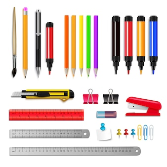 Conjunto de variedade de artigos de papelaria de marcadores de lápis de governantes e outros itens isolados na ilustração vetorial realista de fundo branco