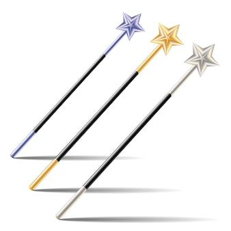 Conjunto de varinhas mágicas com estrelas isoladas no fundo branco. ilustração vetorial