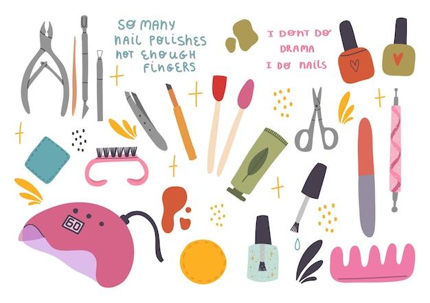 Conjunto de vários acessórios de manicure, equipamentos, ferramentas.