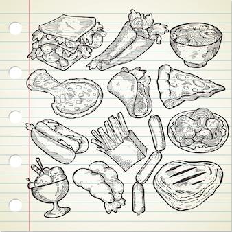 Conjunto de vários alimentos desenhados à mão