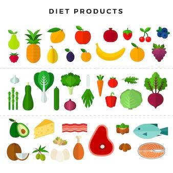 Conjunto de vários alimentos dietéticos isolado no branco