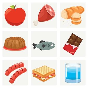 Conjunto de vários alimentos frescos