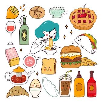 Conjunto de vários alimentos kawaii doodle