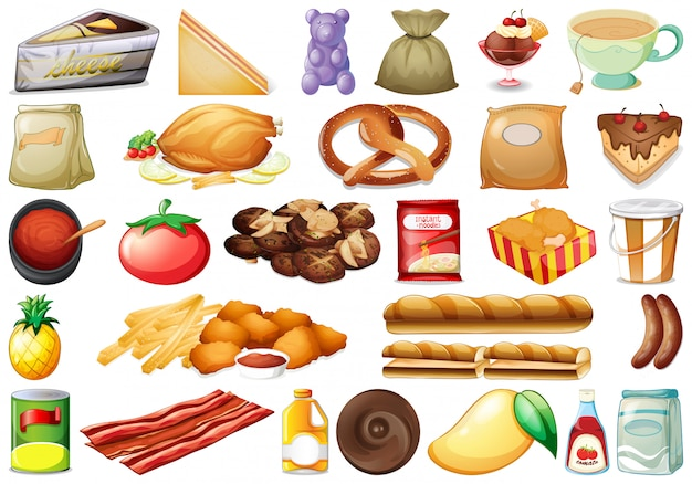 Conjunto de vários alimentos